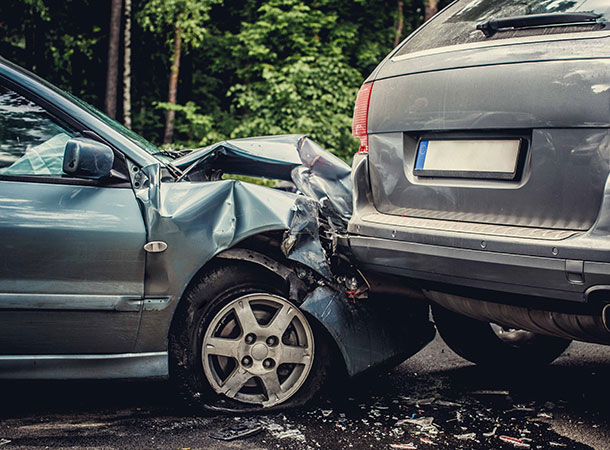 Don't drive tired - car crashed into another car