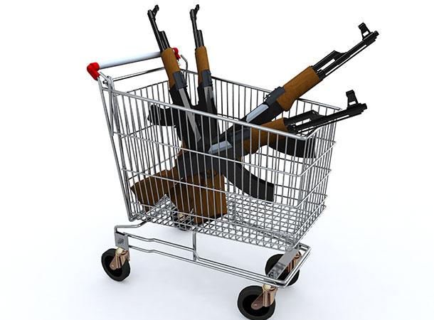guns in a shopping trolley